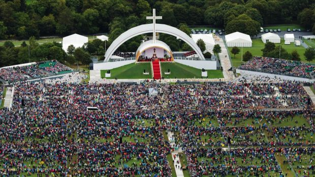 An aerial view of the crowd at Phoenix Park as Pope Francis attends the closing Mass at the World Meeting of Families, as part of his visit to Ireland, on August 26th 2018 in Dublin. Photograph: Liam McBurney-Pool/Getty Images