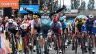 Bora-Hansgrohe rider Ireland's Sam Bennett celebrates as he crosses the finish line after the third stage of the 71st edition of the Criterium du Dauphine. Photograph: Getty Images