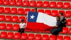 Chile fans  before the Women's World Cup match against Sweden in Rennes. Photograph:   Reuters/Gonzalo Fuentes