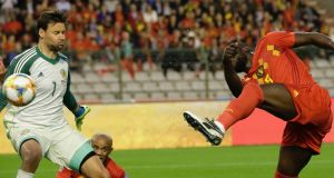 Belgium's Romelo Lukaku in action against Scotland at the King Baudouin Stadium in Brussels. Photograph: Olivier Matthys/AP