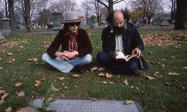 Rolling Thunder Revue: Bob Dylan and Allen Ginsberg at Jack Kerouac's grave. Photograph: Netflix