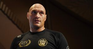 Tyson Fury trains ahead of his heavyweight clash with Tom Schwaz in Las Vegas. Photograph:  Ethan Miller/Getty