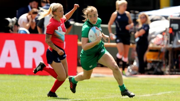 MU Barnhall's Eve Higgins is a rising star on the Sevens circuit.
