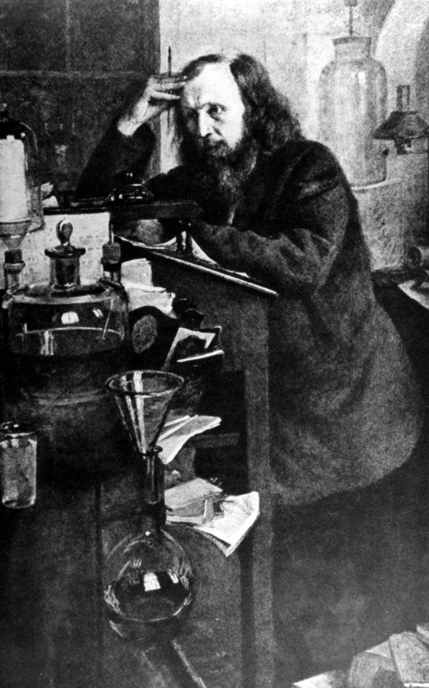 Unknown artist's portrait of Dmitri Ivanovich Mendeleyev (1834-1907), the Russian chemist best known for his work on the periodic law, at work in his laboratory. Photograph: Time Life Pictures/Mansell/The LIFE Picture Collection/Getty Images