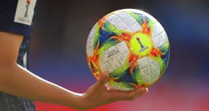 A view of a match ball during the game between Argentina and Japan in Paris. Photo: Richard Heathcote/Getty Images
