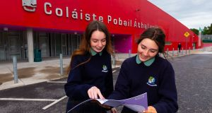 Junior Cert students Kasie Duignan and Sarah Jane Macken pictured after their French exam at Athlone Community College. Photograph: Tom O'Hanlon.