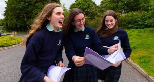 Athlone Community College  students Emma Flannery, Emily Sheehan and Eimhin Feeney after their French Higher Level Exam. Photograph: Tom O'Hanlon.