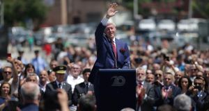 Former US president Bill Clinton delivers a speech during the 20th anniversary of the deployment of Nato troops in Kosovo, in Pristina on Thursday. Photograph: Florion Goga/Reuters