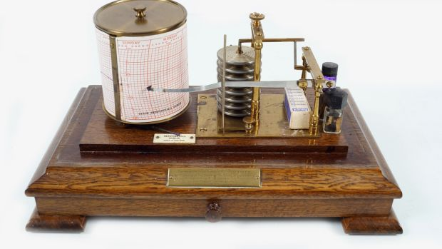 The barograph presented to Prof John Purser on his retirement from Trinity College Dublin, €500-€800