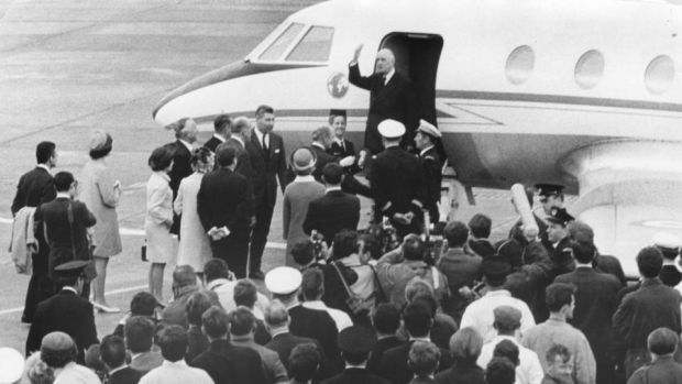 Charles de Gaulle waves goodbye from the steps of his plane before leaving Dublin Airport for France. At the foot of the steps are the then taoiseach Jack Lynch and his wife, Mairin. Photograph: Dermot Barry