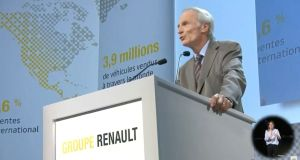 Renault  chairman  Jean-Dominique Senard addresses shareholders during a meeting in Paris. Photograph: Reuters/via Reuters TV