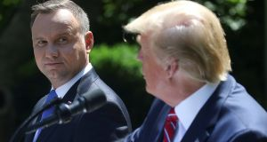 Poland's president Andrzej Duda visited the  US president Donald Trump  at the White House in Washington on Wednesday. Photograph: Reuters/Leah Millis