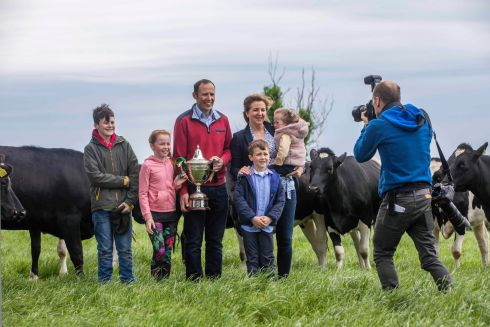 MILKING IT: Darran and Denise McKenna of Derrygassan, Co Monaghan, with their children Daithí, Caragh, Micheál and Annie on their farm. Darren and Denise were the winners of the 2018 NDC and Kerrygold Quality Milk Awards which have been running since 1996. Photograph: Clare Keogh