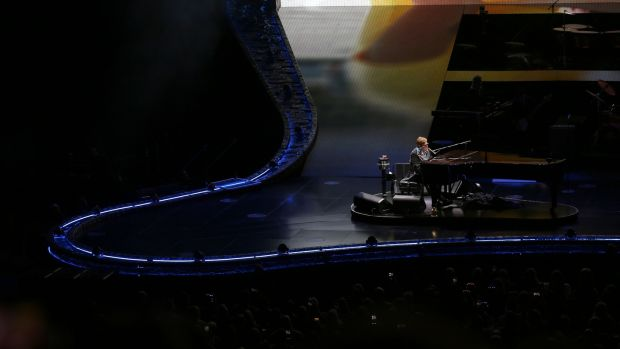 Elton John on stage at the 3Arena on Wednesday. Photograph: Laura Hutton/The Irish Times