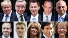 A combination of file pictures  shows the 10 declared contenders in the Conservative Party leadership contest. Top row:  Boris Johson, Michael Gove, Jeremy Hunt, Dominic Raab, Sajid Javid. Bottom row:  Matt Hancock, Mark Harper, Esther McVey, Rory Stewart,  Andrea Leadsom.  Photograph: STF/AFP/Getty Images