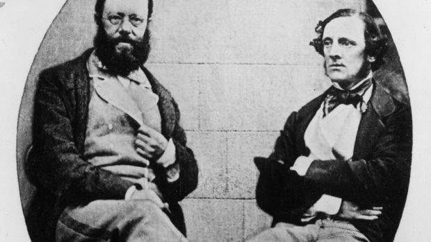 September 1857: English author Edward Lear and Chichester Fortescue at Ardee, Ireland. Photograph: Hulton Archive/Getty Images