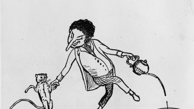 1871: A drawing illustrating a limerick showing a man dancing with a cat and pouring tea into a hat from a tea-pot. More Nonsense, Edward Lear, was published in 1871. Photograph: Hulton Archive/Getty Images