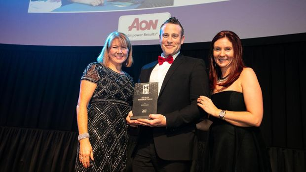 Brian McKiernan, Sales & Business Development Manager, Aon, presents the Best Talent Management Strategy award to Lorraine Kenny & Louise Roberts, MSD Ireland.