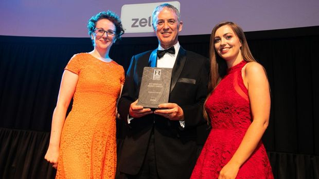 Simon Garvey, Sales Director and Country Manager, Zellis, presents the Best Workplace Diversity Strategy award to Aoife Mulqueen & Jennifer Kavanagh, Vodafone Ireland.