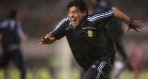 Diego Maradona, head coach of Argentina, celebrates his team's second goal during their World Cup 2010 qualifying match against Peru in Buenos Aires on October 10th, 2009. Photograph: Marcos Brindicci/Reuters