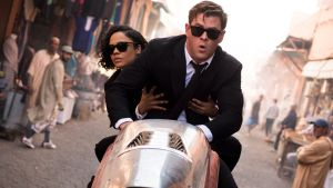 Agent H (Chris Hemsworth) and Agent M (Tessa Thompson) in Columbia Pictures' Men in Black: International. Hemsworth is never bad, but he seems stranded here in a himbo role