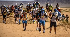 Competitors in the first stage of the 34th edition of the Marathon des Sables (also known as Sahara Marathon) between El Borouj and Tisserdmine in the southern Moroccan Sahara desert earlier this year. File photograph: Getty