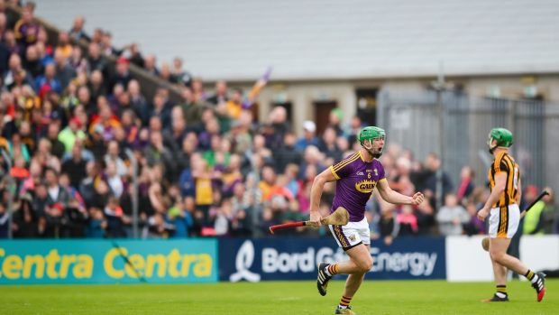 Wexford's Matthew O'Hanlon celebrates a score during the victory over Kilkenny at Wexford Park in 2017. Photograph: James Crombie/Inpho