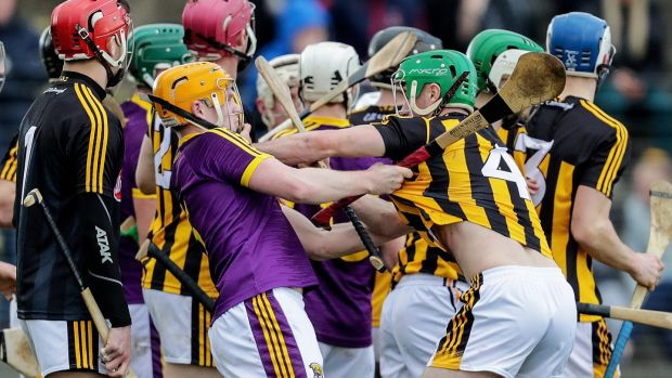 Tempers flare between Wexford's Simon Donohue and Tommy Walsh of Kilkenny during the Walsh Cup semi-final at Enniscorthy in January. Photograph: Laszlo Geczo/Inpho