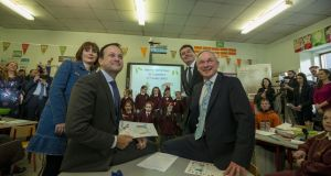 Taoiseach Leo Varadkar with Josepha Madigan, Paschal Donohoe and Richard Bruton at St Laurence O'Toole school in Dublin city for the launch of Creative Youth. File photograph: Brenda Fitzsimons