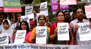 Activists protesting for  safe workplace for garments workers mark the sixth anniversary of the Rana Plaza building collapse, in Dhaka, Bangladesh, in April. Photograph: Mamunur Rashid/NurPhoto via Getty Images