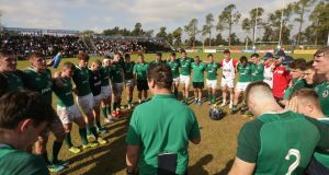 Ireland head coach Noel McNamara addresses the squad  after the victory over Italy in Santa Fe. Photograph: Pablo Gasparini/Inpho