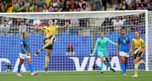 Alanna Kennedy of Australia celebrates following her side's victory over Brazil in the  Women's World Cup  Group C match  at Stade de la Mosson  in Montpellier, France. Photograph: Elsa/Getty Images