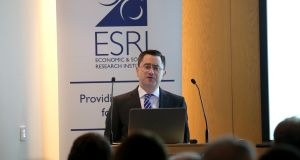 The Department of Finance's  chief economist John McCarthy addressing the ESRI's annual budget perspectives conference in Dublin