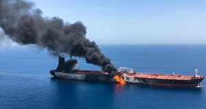 Oil prices jumped about 2 per cent following the suspected tanker attack. Photograph: ISNA/AFP/Getty
