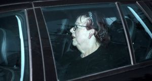 Jo Brand is driven away after an appearance at a literary festival on Thursday. Photograph: Rick Findler/PA Wire
