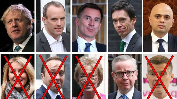 The Tory leadership candidates still standing, (left to right, top row) Boris Johnson, Dominic Raab, Jeremy Hunt, Rory Stewart, Sajid Javid and (bottom row) Michael Gove. Out of the race are (bottom row from left) Esther McVey, Matt Hancock, Andrea Leadsom and Mark Harper. Photograph: PA