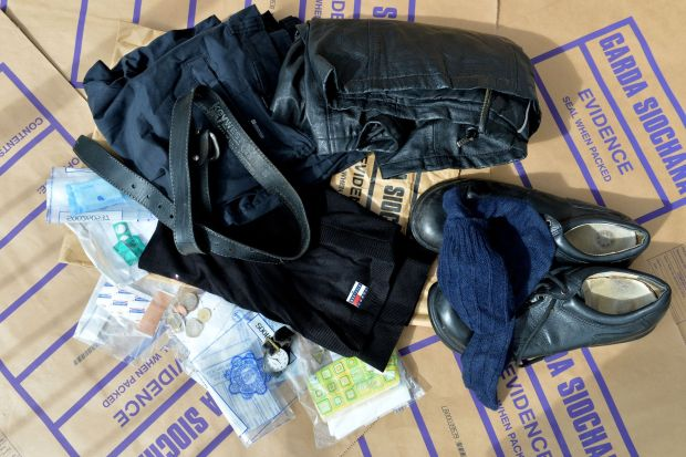Clothing and the content of Peter Bergmann's pockets, still held as evidence by the Garda in Sligo. Photograph: Alan Betson