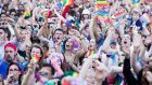 People taking part in the  Dublin Pride Parade last year. Photograph: Tom Honan