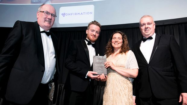 Fergal McManus, Regional Account Manager – Ireland, Confirmation, presents the Best Use of Technology in Accountancy & Finance award to Michael Barrett, Elizabeth McCabe & John Gannon, IT Sligo.