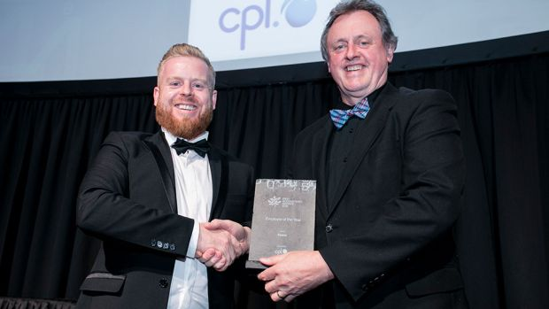 Ciaran Bergin, Associate Director, Cpl, presents the Employer of the Year award to Ger O'Sullivan, Fexco.