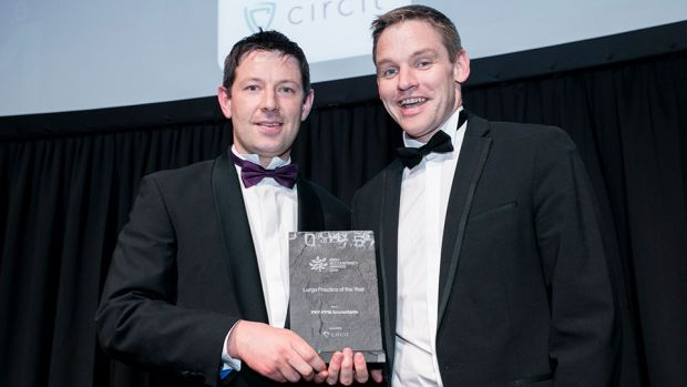 David Heath, founder & CEO, Circit, presents the Large Practice of the Year award to Michael Farrell, PKF-FPM Accountants.