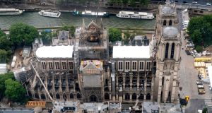 Notre Dame de Paris cathedral under repair after it was badly damaged by a huge fire on April 15th. Photograph: Lionel Bonaventure/AFP/Getty