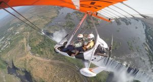 Shilpa Ganatra flying high above Victoria Falls in Zambia.