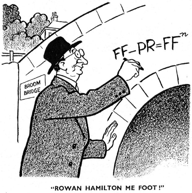 Eamon de Valera depicted attempting to solve the equation for voting by Proportional Representation. Published by Dublin Opinion in March 1959.