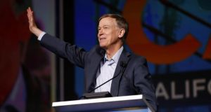 Democratic presidential candidate and former Colorado governor John Hickenlooper speaks during the California Democratic Convention in San Francisco, California on June 1st. Photograph: Stephen Lam/Reuters