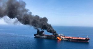 Two oil tankers near the strategic Strait of Hormuz were reportedly attacked on Thursday as  the U.S. Navy rushed to assist amid heightened tensions between Washington and Tehran. Photograph: ISNA/AP
