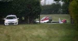The scene of a light aircraft crash in Belan, outside Athy, Co Kildare where two men  were killed. Photograph: The Irish Times