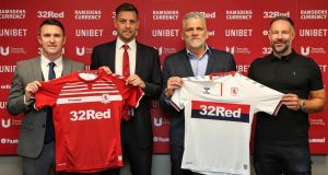 The new manager and backroom  team at Middlesbrough  of  Robbie Keane, Jonathan Woodgate, Leo Percovich and Danny Coyne. Photograph: Tom Banks/MFC/PA Wire