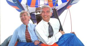 Q4 director Gerry O'Sullivan, right, pictured in 1999 alongside Eircom's then chief executive Alfie Kane in a hot air baloon to launch the company's new corporate identity. O'Sullivan left Eircom in 2003 to co-found public relations agency Q4 in Dublin. Photograph: Alan Betson