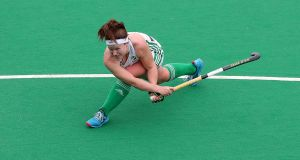 Shirley McCay opens the scoring for Ireland in the FIH Women's Series semi-final against the Czech Republic at  Banbridge Hockey Club. Photograph: Bryan Keane/Inpho
